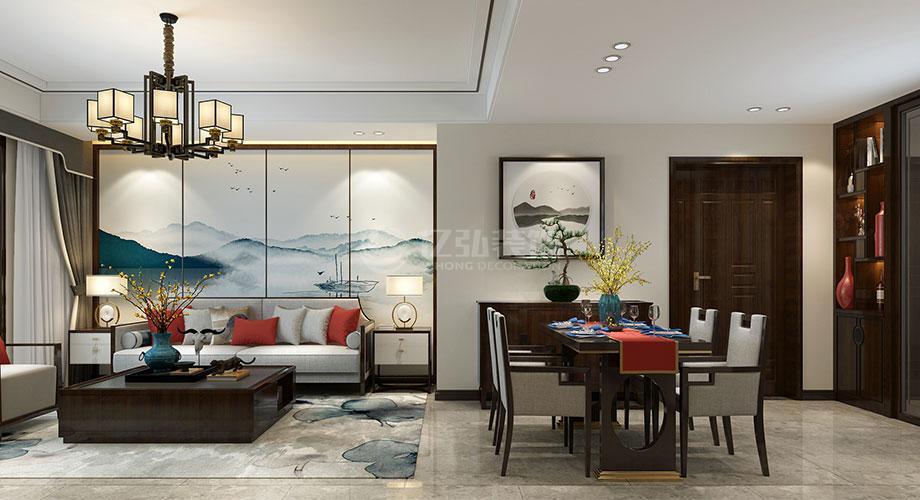襄阳航宇幸福家园146平米新中式风格装修效果图!