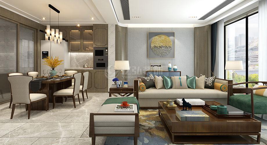 襄阳装修案例新中式风格客厅装修效果图合辑
