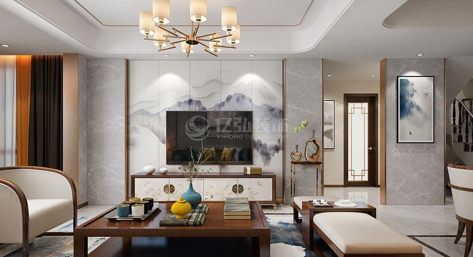 新中式风格客厅电视背景墙装修效果图合辑!