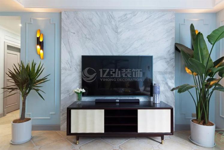 电视背景墙装上大理石,简洁优雅又上档次!
