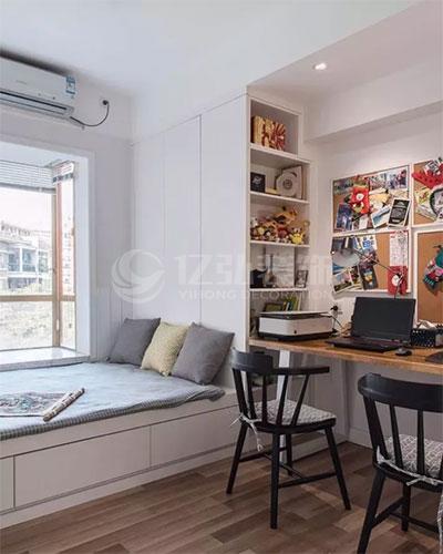 卧室装修效果图:小卧室装个书桌柜,实用又好看!