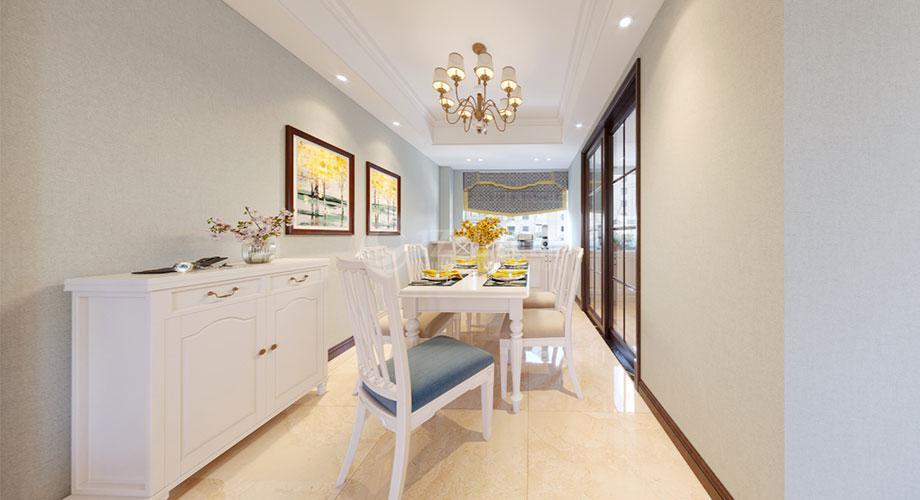 襄阳东津世纪城123平米三室两厅美式风格装修效果图!