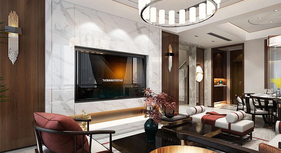 襄阳碧桂园218平米新中式风格别墅装修效果图!