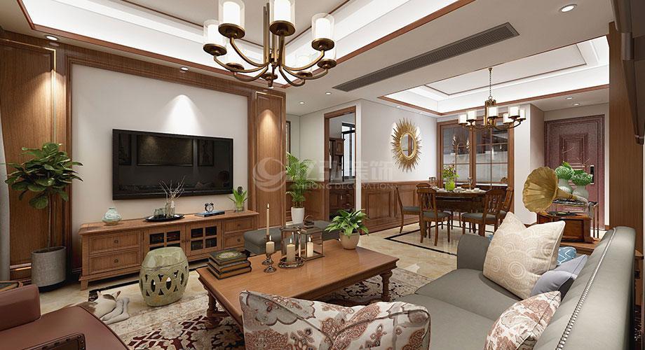 襄阳骧龙国际90平米两室两厅美式风格装修效果图!