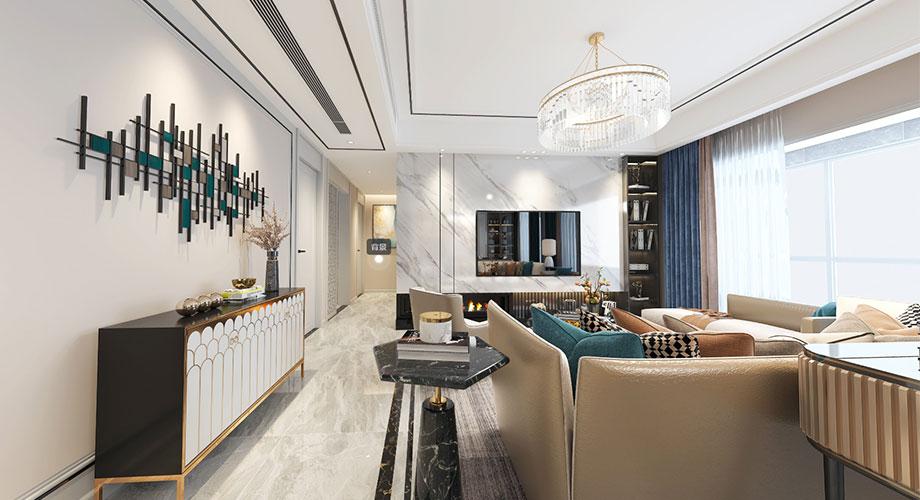 襄阳民发世界城浪琴苑140平米现代轻奢风格装修效果图!