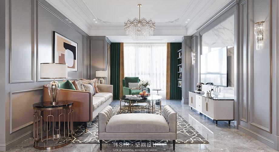 襄阳东津世纪城183平米美式轻奢风格复式楼装修效果图!