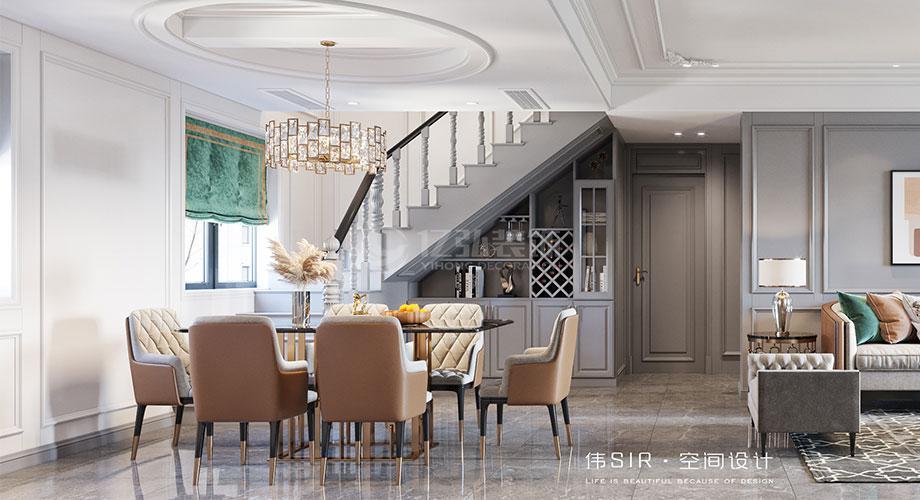 襄阳装修案例襄阳东津世纪城183平米美式轻奢风格复式楼装修效果图!