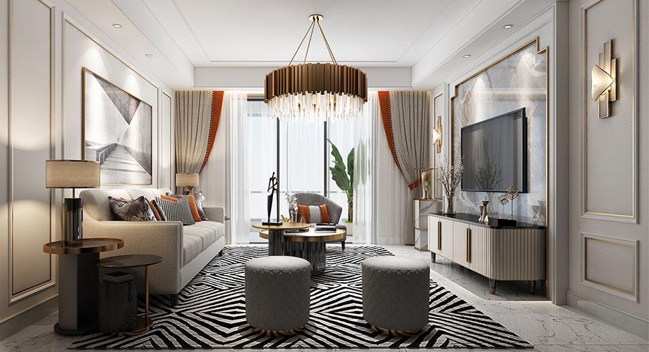 襄阳汉江梦150平米四室两厅美式轻奢风格装修效果图!