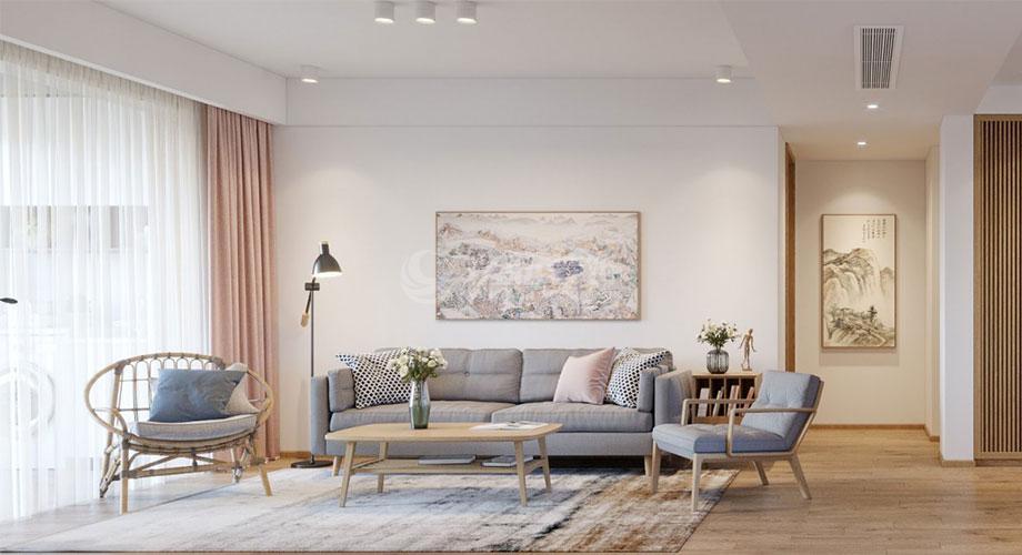 襄阳东津世纪城130平米三室两厅日式风格装修效果图!