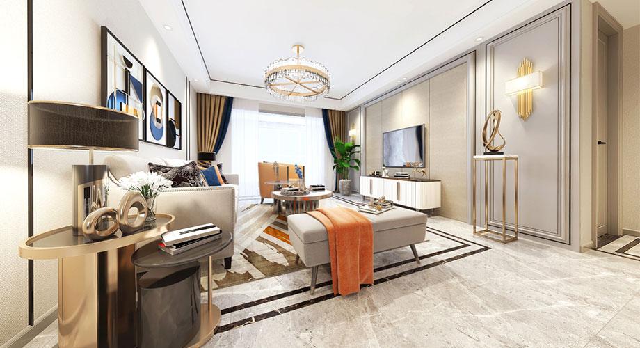 襄阳汉水华城御苑125平米现代轻奢风格装修效果图!
