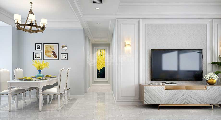 襄阳万景三号院134平米三室两厅美式风格装修效果图!
