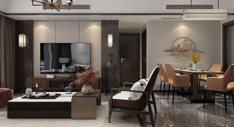 襄阳山水檀溪88平米两室两厅新中式风格装修效果图!