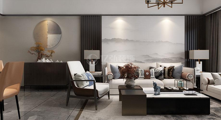 襄阳装修案例襄阳山水檀溪88平米两室两厅新中式风格装修效果图!