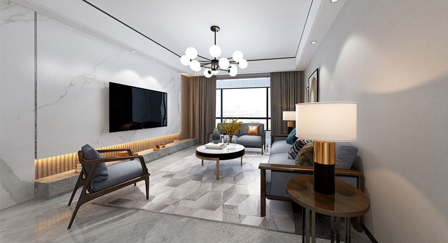 襄阳汉水华城小区138平米三室两厅现代风格装修效果图