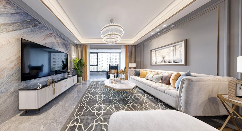 襄阳装修东津世纪城154平米四室两厅美式轻奢风格装修效果图!
