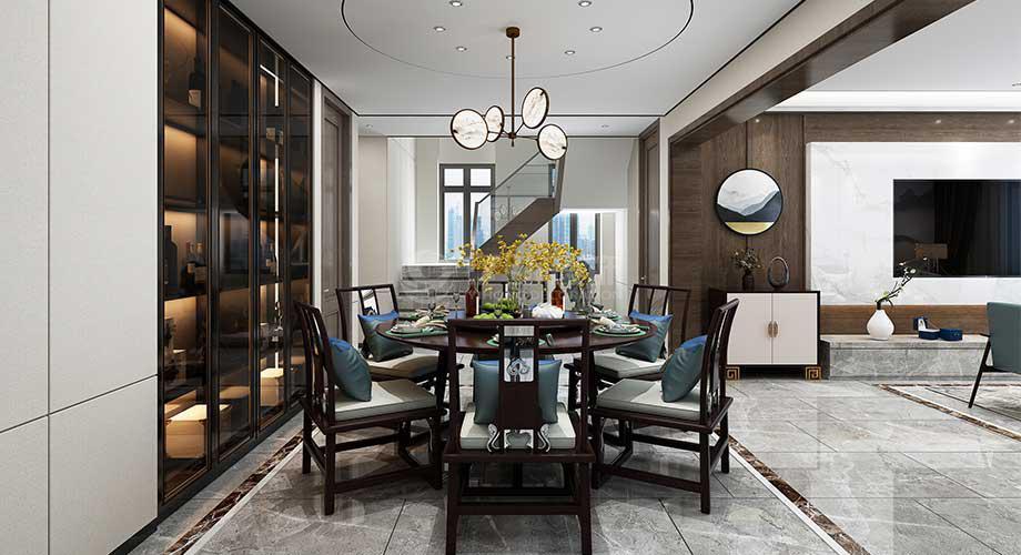 襄阳装修128平米三室两厅新中式轻奢风格装修效果图!