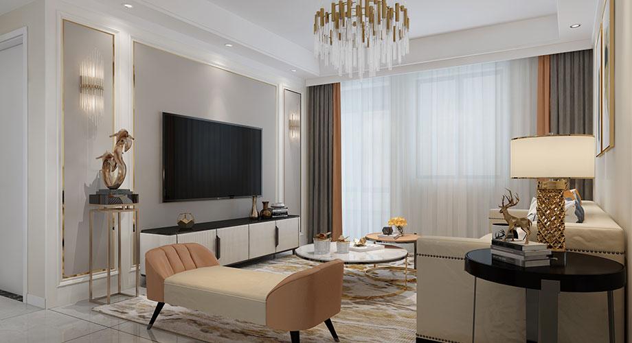 襄阳装修五月花138平米三室两厅现代轻奢风格装修效果图!
