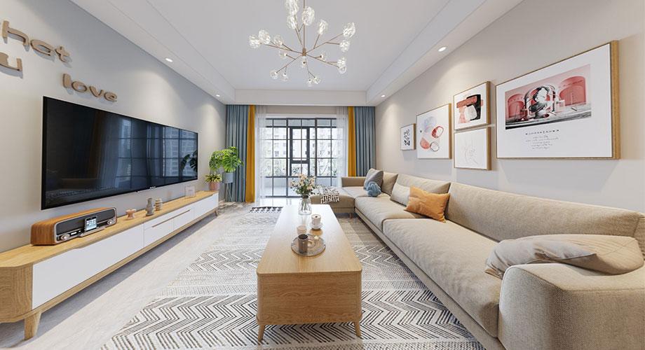 襄阳装修汉水华城悦苑131平米三室两厅北欧风格装修效果图!