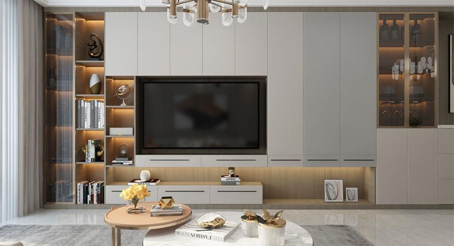 襄阳装修骧龙国际110平米三室两厅现代轻奢风格装修效果图!