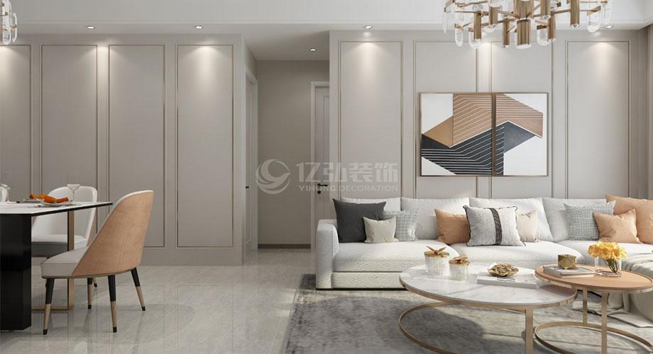 襄阳装修案例襄阳装修骧龙国际110平米三室两厅现代轻奢风格装修效果图!