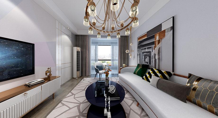 襄阳装修鼎府112平米三室两厅现代轻奢风格装修效果图!