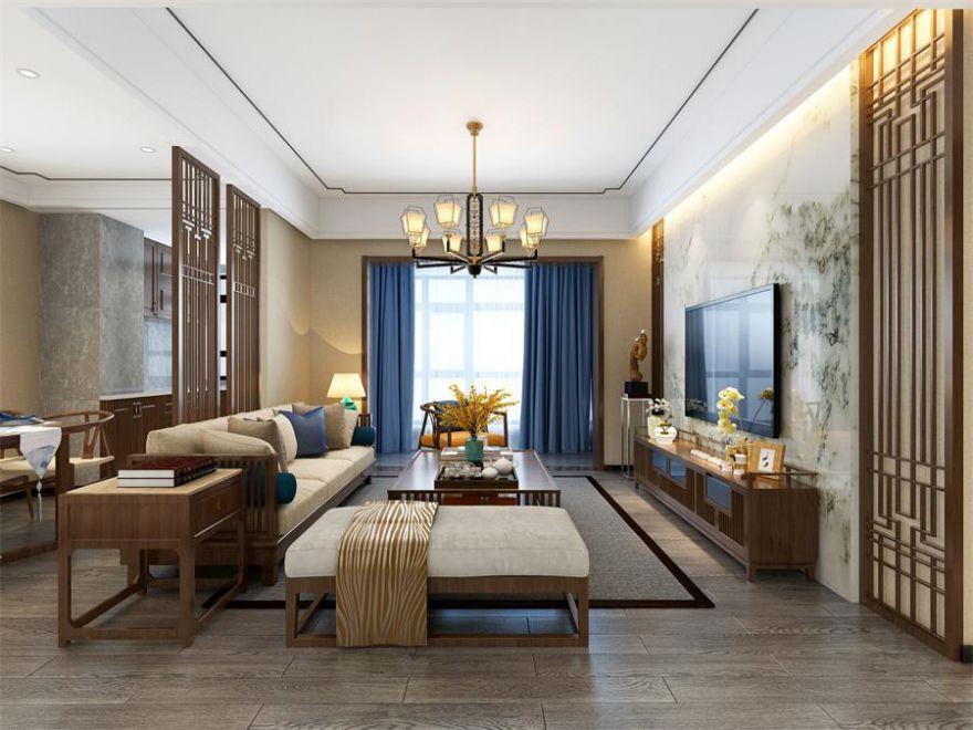 襄阳装修融侨锦江112平米三室两厅新中式风格装修案例,传承东方美韵!