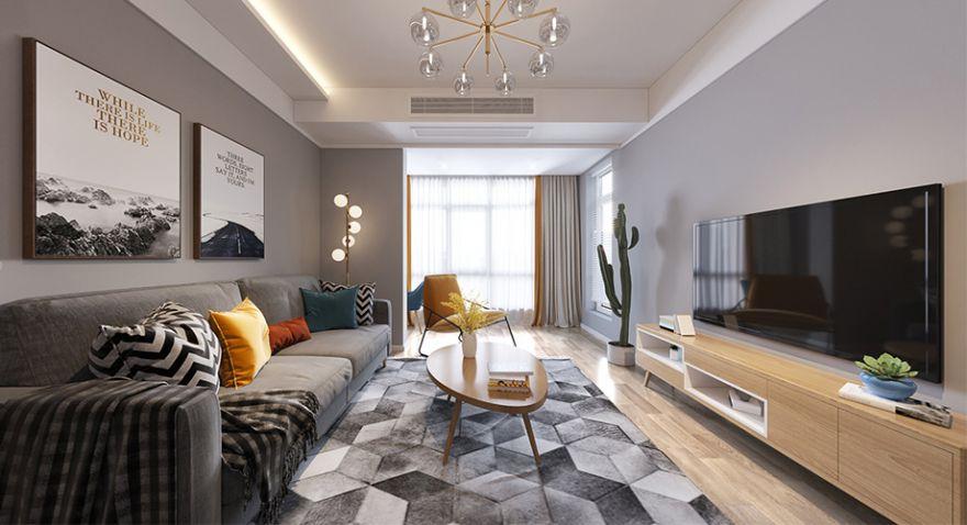 襄阳汉水华城125平米三室两厅北欧风格装修案例,时尚温馨有格调!