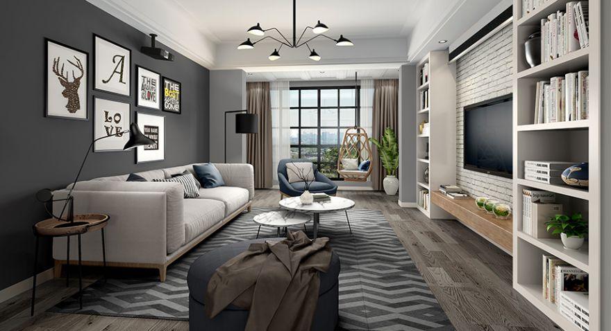 襄阳九街十八巷138平米三室两厅现代风格装修,黑白灰打造优雅格调之家!