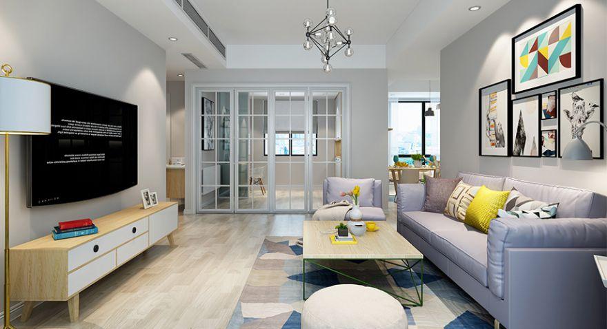 襄阳东津世纪城122平米三室两厅北欧风格装修案例,简单时尚有内涵!