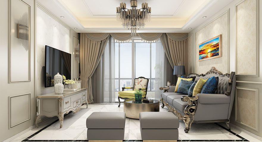 襄阳东津世纪城122平米三室两厅简欧风格装修案例,时尚细腻,精致浪漫!
