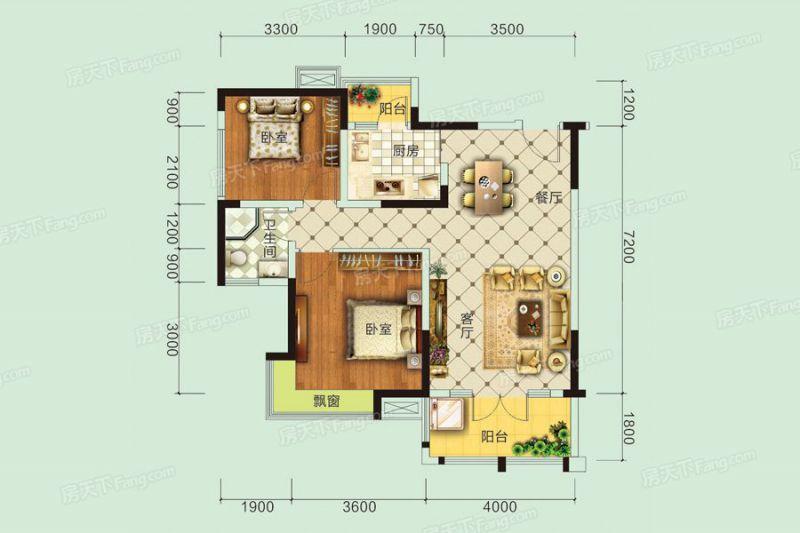 宜昌裝修方案E戶型|2室2廳1衛1廚