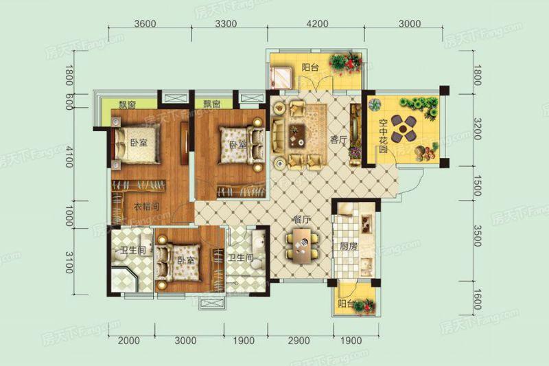 宜昌裝修方案B1戶型|3室2廳2衛1廚