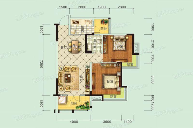 宜昌裝修方案D戶型|2室2廳1衛1廚