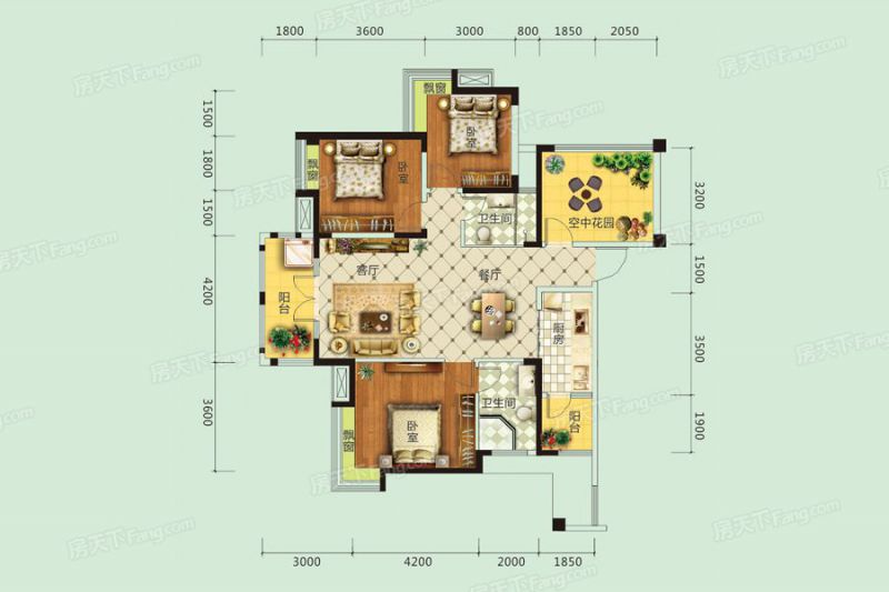 宜昌裝修方案A戶型|3室2廳2衛1廚