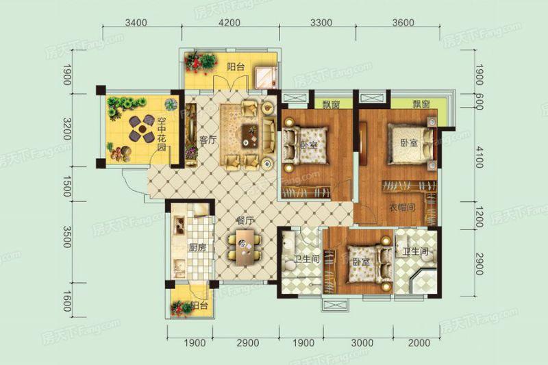 宜昌裝修方案B戶型|3室2廳2衛1廚