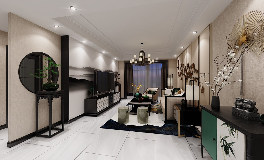 绵阳英郦庄园跃层案例-新中式风格装修190平米