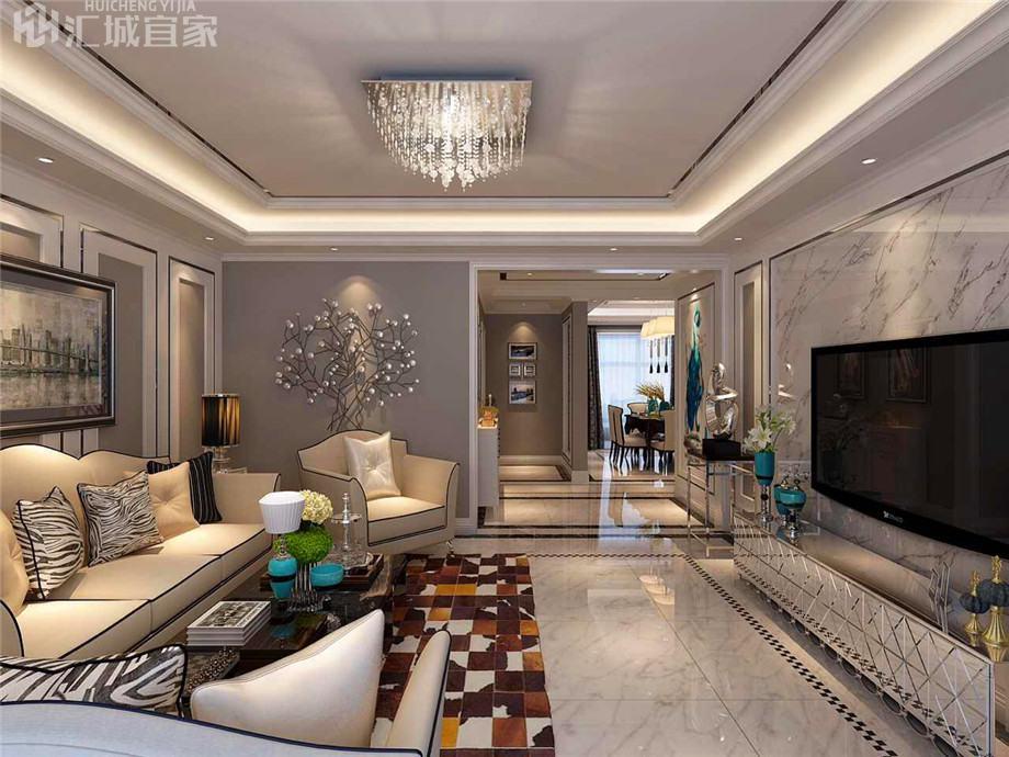 绵阳温莎国际家装案例-法式现代风装修100平米